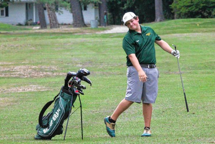 Bishop Brady's Nick Grimbilas expresses frustration after hitting a shot at Beaver Meadow Golf Course on Wednesday during a match against Pembroke Academy. Grimbilas, a sophomore, earned medalist honors, shooting a 35 to lead Brady to a 26-stroke win.  MICHELLE BERTHIAUME / Monitor staff