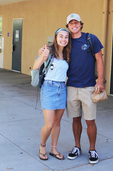 "Seniors Jack Shoemaker and Lucy Borreto show their school spirit during Homecoming spirit week. Looks like they are ready to bust a move this Saturday at the birch aquarium. ""I am excited to show some moves at Homecoming"" says Lucy Borreto. Sept. 17. Iliad/Jake Beckwith."