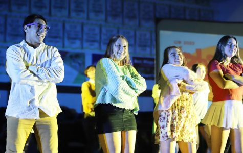 """Spotlight on seniors: Titan Times took place Feb. 10 during homerooms. The theme of the show was Phineas and Ferb. (Top Left) Seniors Jacob Vale, Tiffany Healey, Lucy Boretto, and Sofia Broderick perform in the final dance called """"Busted."""""""