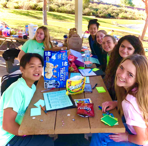 The peer counseling team doing activities at Lake Poway for planning of the season this past spring.