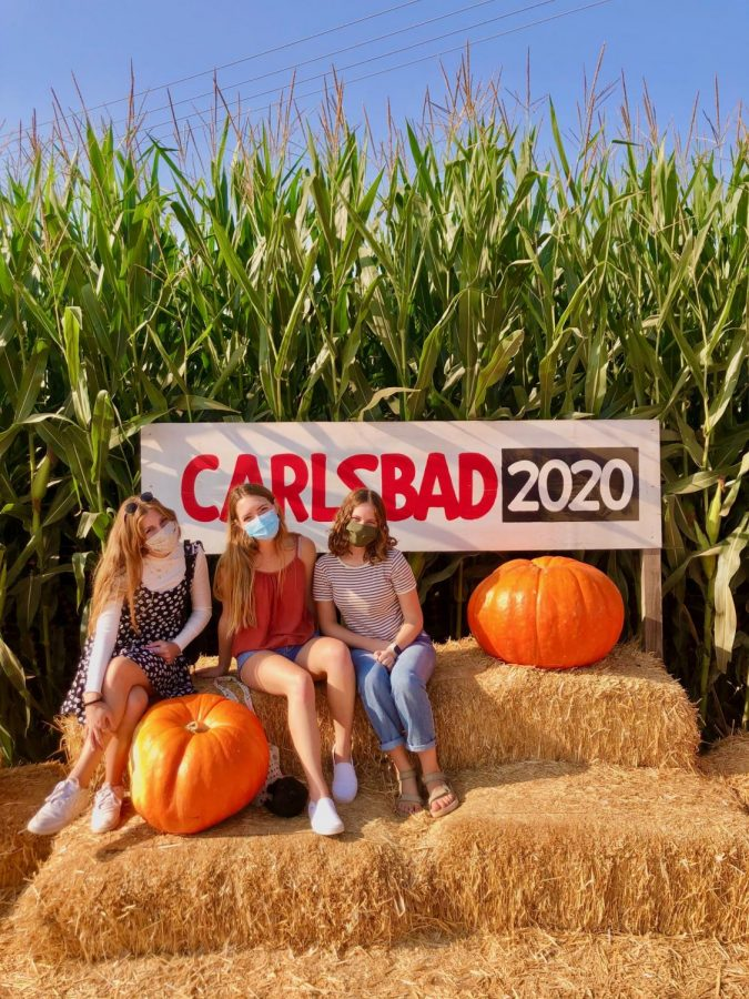 Gabriella Lazaro, Abigail Gant, and Allison Bell sit among the corn and pumpkins.