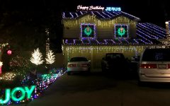 One out of the many houses that decorated the exterior of their house with many lights and decorations.