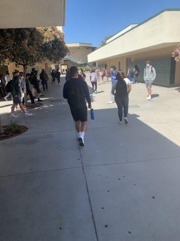 Students cruising through the hallways to their next class on time.